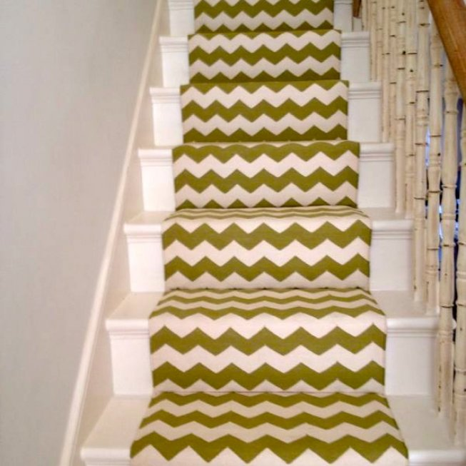 Green and White Stair Runner