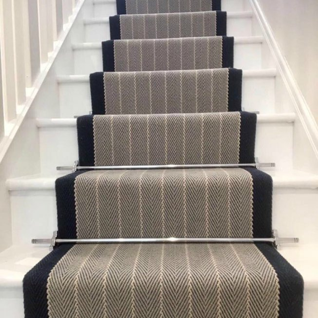 Roger Oates Stair Runner in Dart Midnight with Premier Satin Nickel Stair Rods