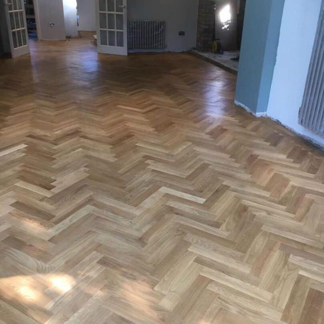Solid Oak Herringbone Floor