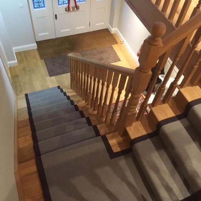Natural Weave Grey Herringbone Flat Weave Carpet