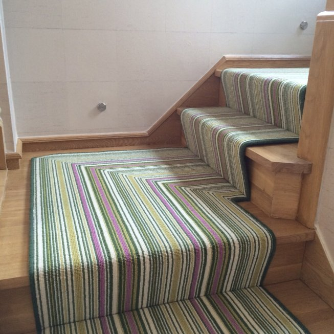 Crucial Trading Biscayne Lime Stripe Stair Runner