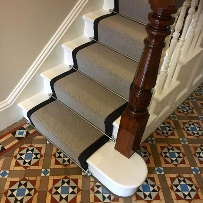 Wool Loop Stair Runner with a Charcoal Fabric Edge