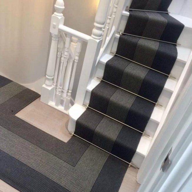 Roger Oates Stair Runner with Premier Stair Rods in Satin Chrome Finish