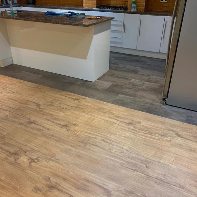 Amtico Spacia Bronze in the Kitchen and Sherwood Oak in the Lounge