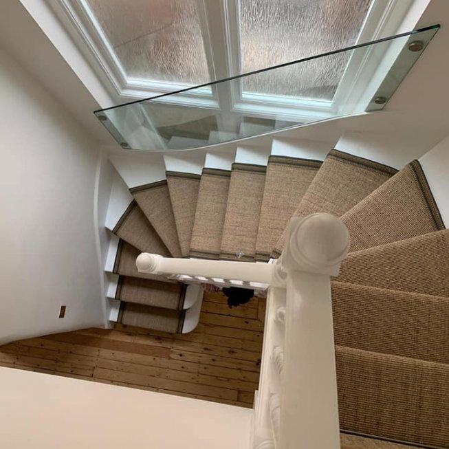 Alternative Flooring Sisal Runner with Rainbow Border & Antique Stair Rods