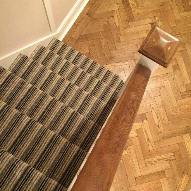 Covent Garden Striped 100% Wool Loop Carpet & Stair Runner