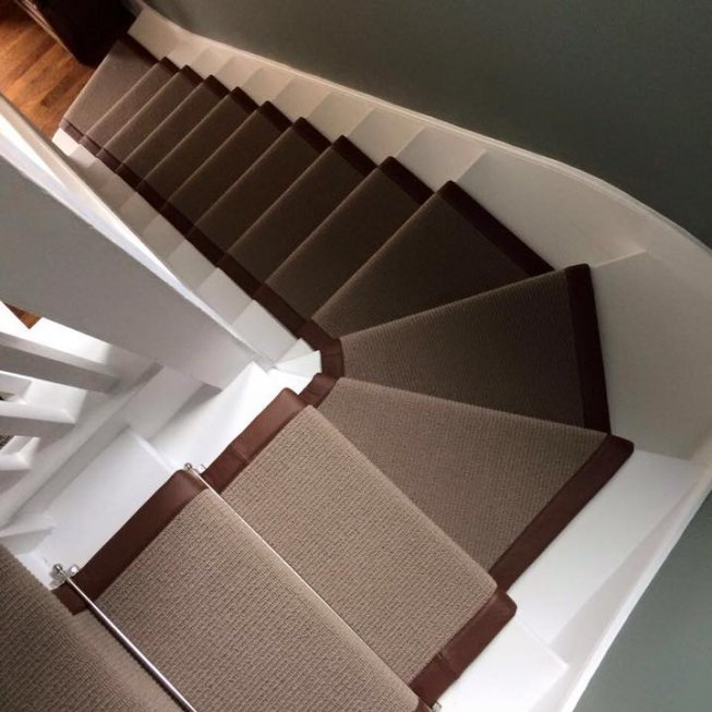 Cavendish Rib Carpet with Leather Edge