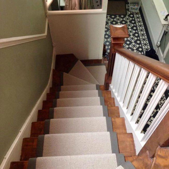Two Tone Stair Runner with Fabric Edge