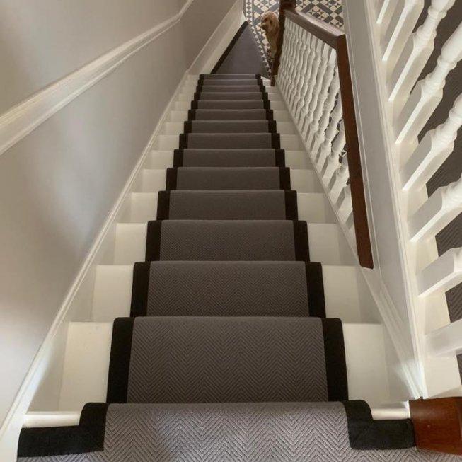 Flat Weave Herringbone Carpet with Black Fabric Edge & Chrome Stair Rods
