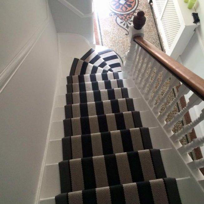 Roger Oates Fitzroy Black Striped Stair Runner