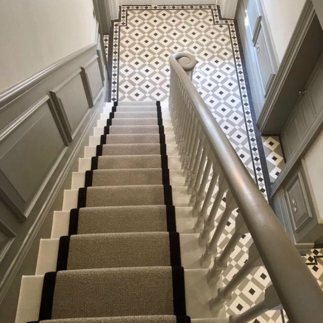 Wool Loop Stair Runner with a Fabric Edge